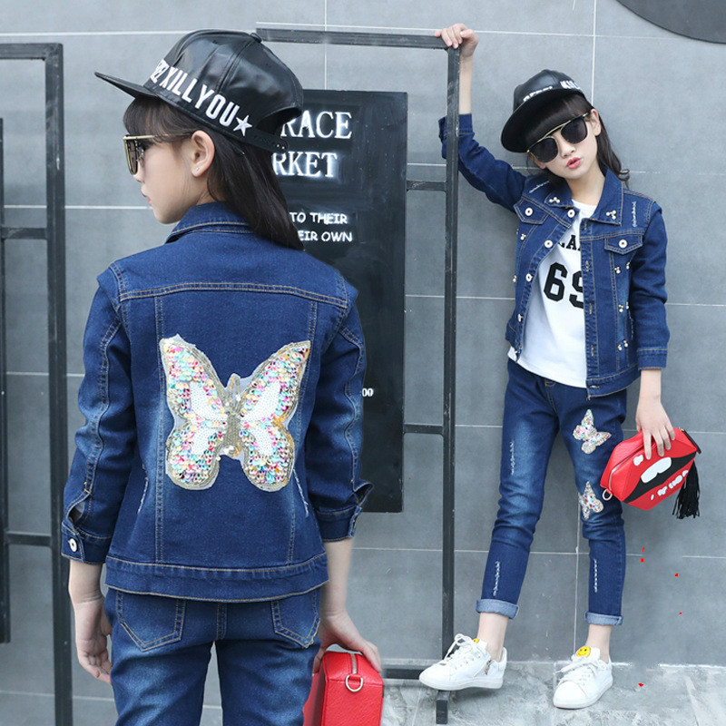 2018 Fashion Sequined Girls Clothing Sets cotton Denim Long Sleeve Jacket+shirt+denim Jeans 3pcs Child Kids Clothes Set Brand цена 2017