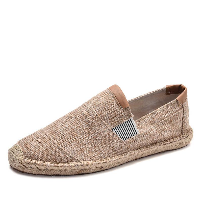 OUDINIAO บุรุษรองเท้าสบายๆชายผ้าใบ Breathable รองเท้าผู้ชายแฟชั่นจีนลื่นบน Espadrilles สำหรับ Men Loafers