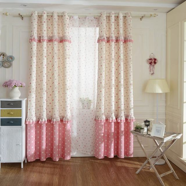 Korean Type Pink Floral Printing Window Blackout Curtains For Living