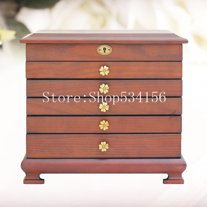 2019 nouveau luxueux grand 6 couches de luxe en bois bijoux boîte-cadeau, boucles d'oreilles anneaux bracelets boîtes à bijoux avec des clés - 2