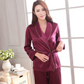 High quality women's pajamas solid color kimono tops and long pants pajamas suit homewear for women silk sleepwear pyjamas