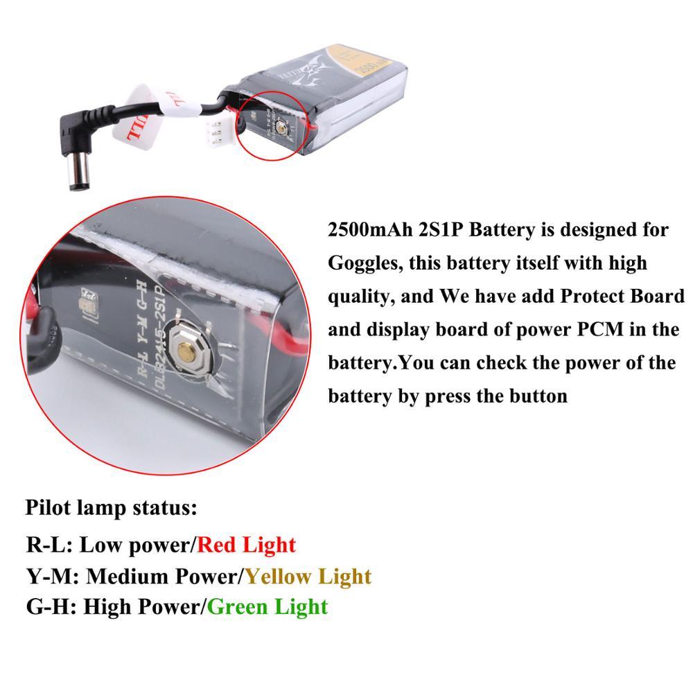 Tattu 7,4 В Lipo батарея 2500 мАч 2 S для очки Fatshark с балансный разъем FPV системы очки удаленного контрольные принадлежности