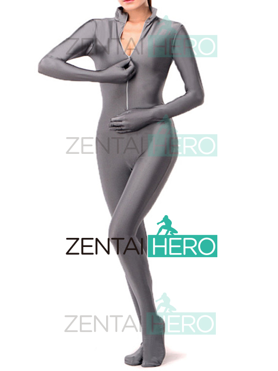 Free Shipping Wholesale Unitard Gray Solid Color Lycra Spandex Zentai Bodysuit Front Zipper Sexy Fancy Dress Party Costume