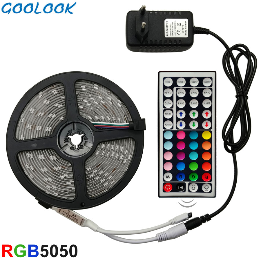 Goolook LED Strip Light RGB LED 5050 SMD 2835 Fleksibel Ribbon RGB Stripe 5M 10M 15M tape diode DC 12V + Fjernkontroll + Adapter EU