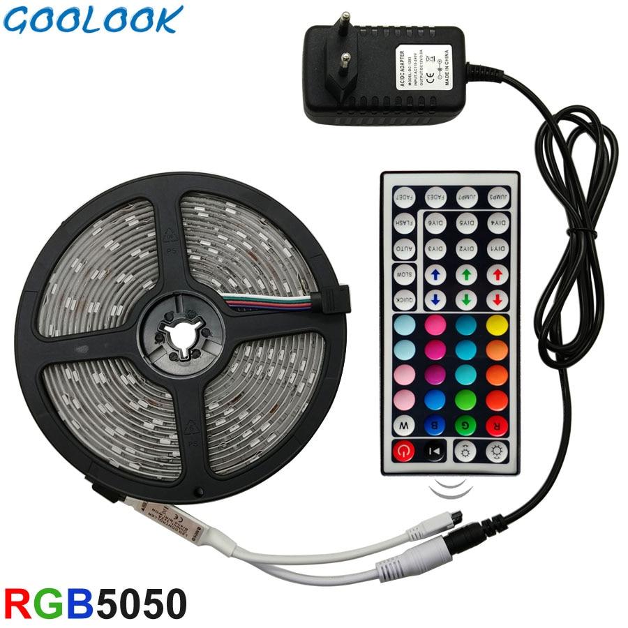 Купить на aliexpress Gooluk Светодиодная лента RGB светодиодный 5050 SMD 2835 гибкая лента RGB полоса 5 м 10 м 15 М лента диод DC 12 В + пульт дистанционного управления + адаптер ЕС