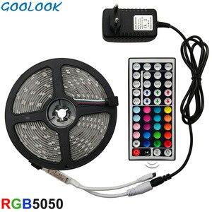 LED Strip Light RGB 5050 SMD 2835 Flexible Ribbon fita led light strip RGB 5M 10M 15M Tape Diode DC 12V+ Remote Control +Adapter(China)
