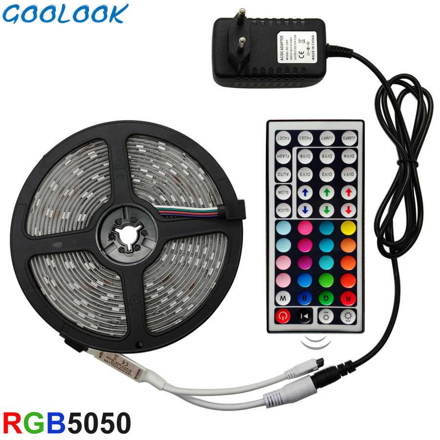 Lampu LED Strip RGB 5050 SMD 2835 Pita Fleksibel Fita Lampu LED Strip RGB 5M 10M 15M tape Diode DC 12V + Remote Control + Adaptor
