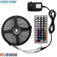 Tira de luz LED RGB SMD 5050 2835 cinta Flexible cinta de luz LED RGB 5M 10M 15M cinta de diodo DC 12V + Control Remoto + adaptador