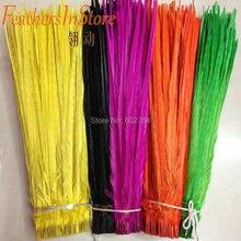 500 шт, 16-18 дюймов, натуральный фиолетовый, черный, оранжевый, зеленый, желтый, розовый, королевский синий, бирюзовый, кольцо на шею, перо фазана