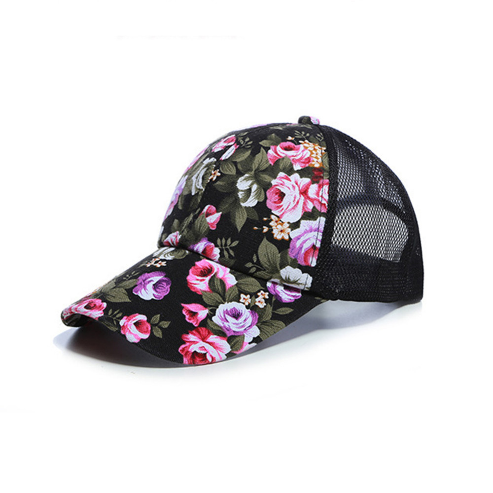 CRESTGOLF Embroidery Baseball Mesh Cap Ladies Leisure Floral Tennis Cap Summer Sport Running Golf Cap Women Snapback Hip-hop Cap ...