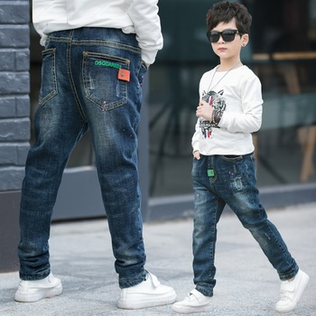Boys pants 2017 autumn Korean children's clothes pencil leggings kids boys elastic waist jeans baby child spring casual trousers Boys Jeans