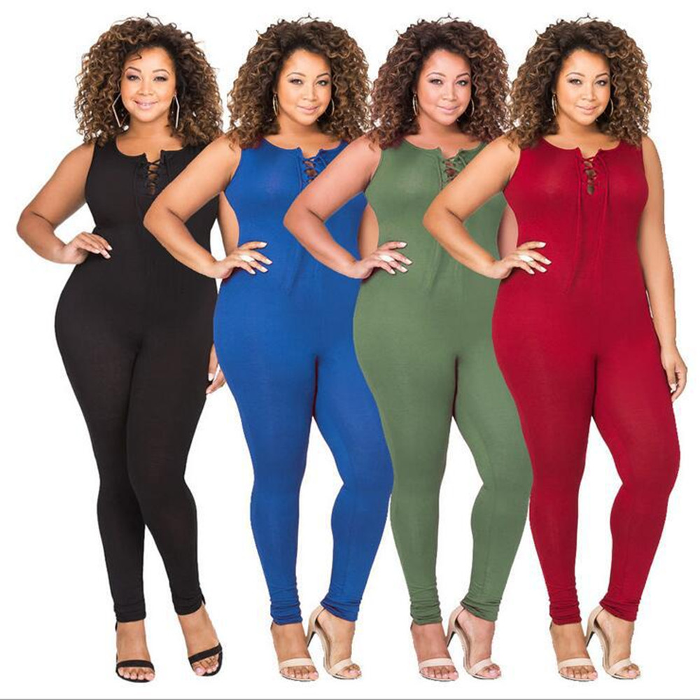 New popular Southeast Asian fashion personality middle-aged women fat MM high waist Slim sexy jumpsuit
