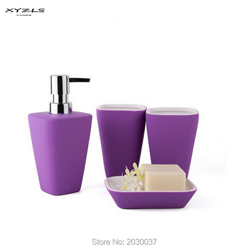 Xyzls 4pc set solid color bathroom set soap dish tumbler - Bathroom soap and lotion dispenser set ...