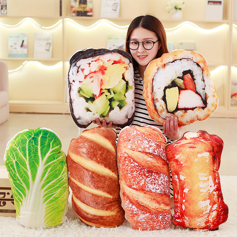 1PC New Novelty Toy Simulated Sushi Bread Food Pillow Plush Baby Toys Creative Soft 2 IN 1 Pillow Quilt Gift Toys home decor sailboat print pillow 1pc