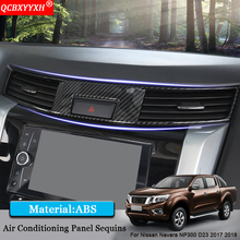 QCBXYYXH Car Styling ABS Air Conditional Panel Sequins Internal Decorations Car Stickers For Nissan Navara NP300 D23 2017 2018