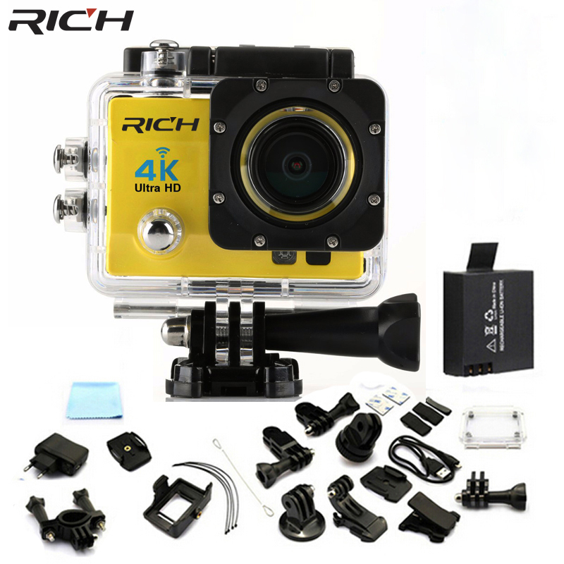 RICH HOT Ultra HD 4K 1080p/60 fps WiFi action camera sport Camcorder 170 degrees Angle 2 inch LCD 30 meters waterproof Q3H1 campark wifi sport action camera 2k hd 30fps hd 1 5 tft lcd 1080p 60 fps 16mp action cam digital camcorder hdmi output