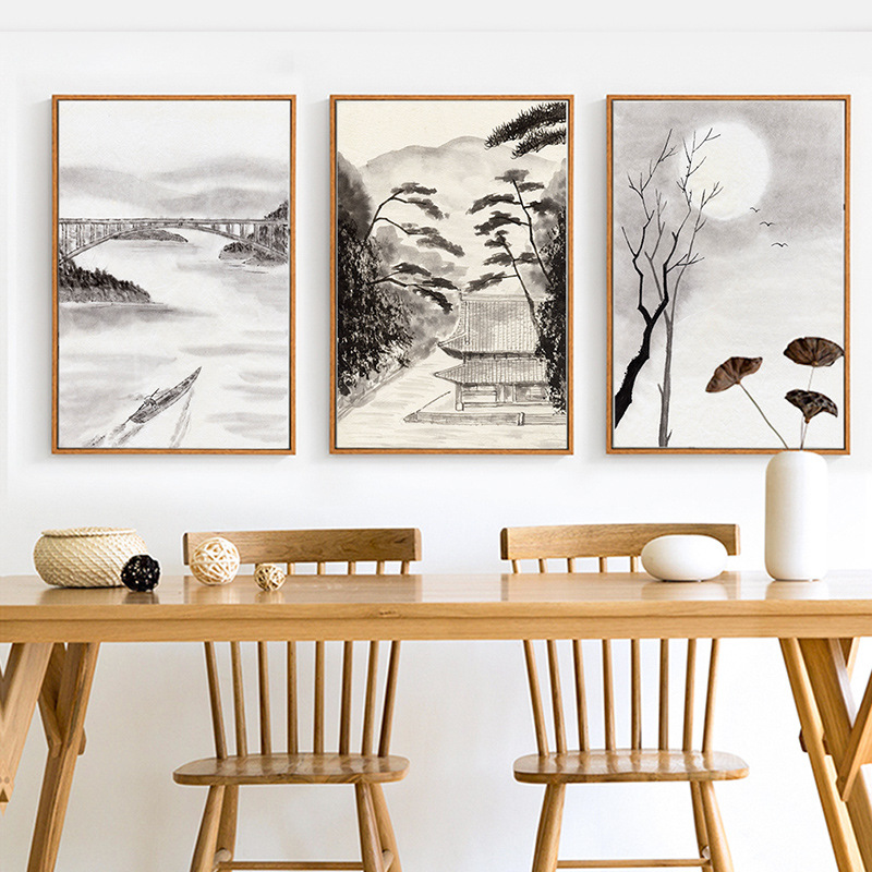 HAOCHU Classic Abstract Chinese Ink Splash Canvas Painting Wall Picture Vintage Retro Bridge River Living Room Home Decor