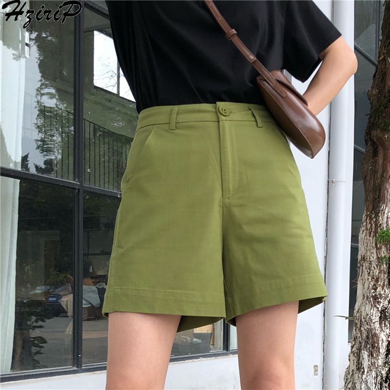 HziriP Stylish Korea 2019 Summer New Hot Sale Sweet Women Loose Pocket Casual Solid High Waist Simple Plus Size Shorts 3 Colors