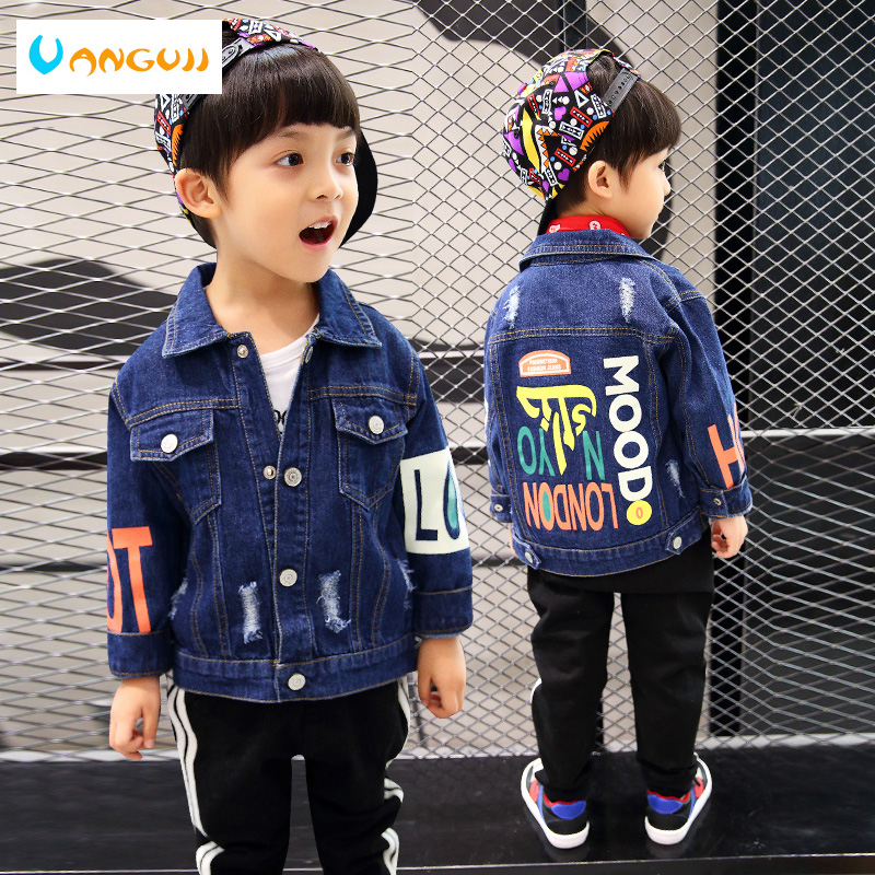 boys autumn coat denim jacket for kids 1-7 years old Washed hole outwear Art print fashion cotton Personality sleeves all match