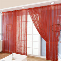 300*300cm Fabric Straight Line Curtain for Living Room Solid Color Red String Curtain for Hotel Salon Beauty Wedding Curtain