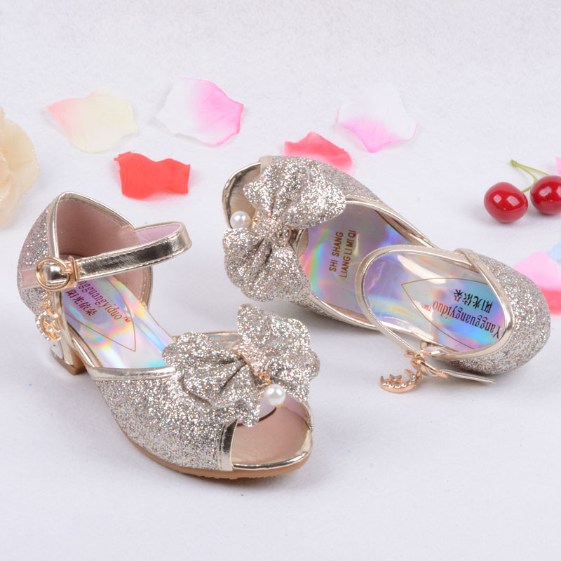 b45270f7492d Sequin Glitter Children Elsa Shoes Girls High Heels Pumps Kids Snow Queen  Party Beading Dance Shoes For Girls Sandals With Bow-in Sandals from Mother    Kids ...
