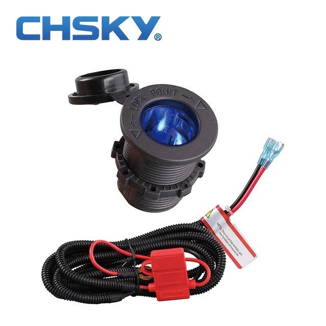 CHSKY z niebieską diodą LED 12 v samochód gniazdo do zapalniczki z wysokiej jakości kable w wiązce ciepła z tworzywa sztucznego odporna na akcesoria samochodowe
