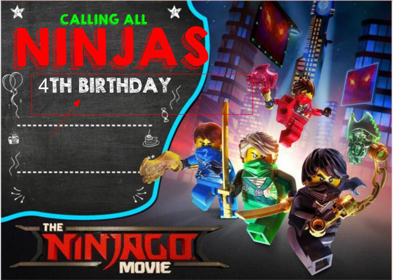 6PCS Lot Ninjago Custom Made Invitation Card Childrens