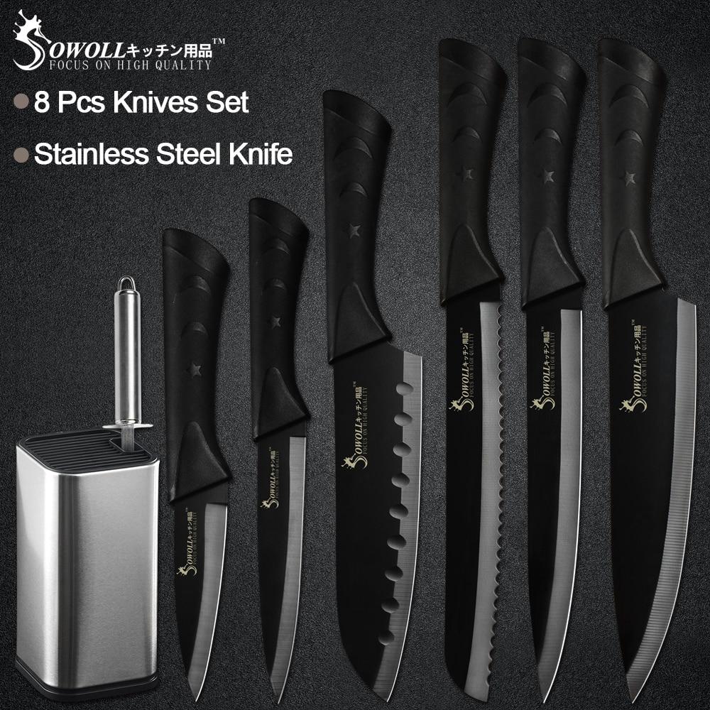 Sowoll 8 ''8 pcs Cozinha Titular Faca de Aço Inoxidável Conjunto De Faca de Cozinha Chef Slicing Pão Utilitário Faca Santoku afiador de facas