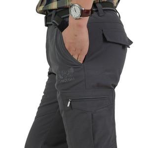 Image 2 - גברים של צמר טקטי למתוח מכנסיים החורף מקרית חם מכנסיים מטען צבאי SoftShell לעבוד מכנסיים עבה חם עמיד למים מכנסיים