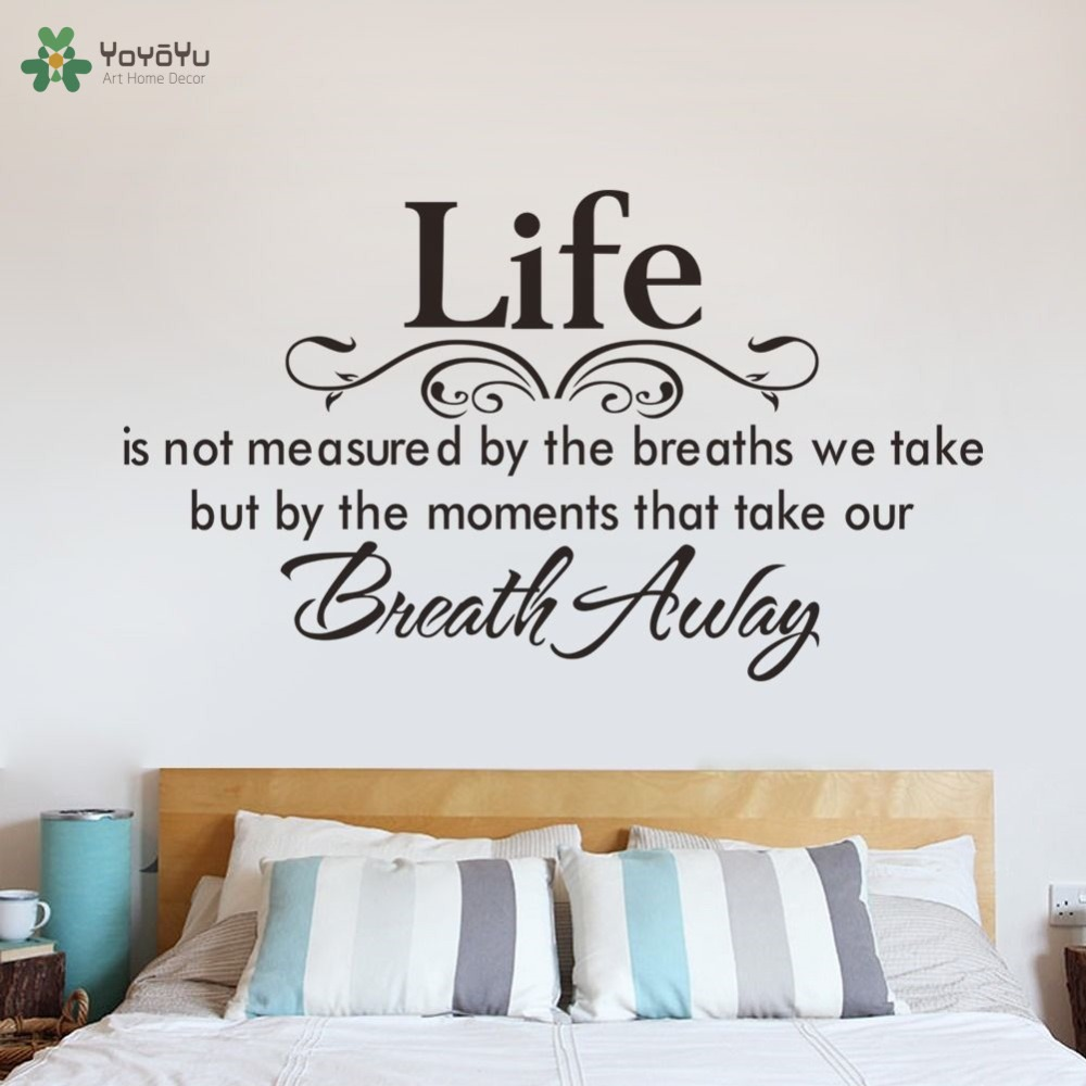 Us 8 36 26 Off Life Quotes Wall Sticker Master Bedroom Headboard Wall Decal Motto Poem Saying Home Decor Art Mural Modern Design Removablesy447 In