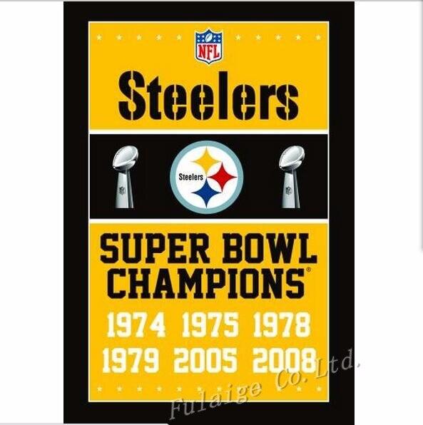 Pittsburgh Steelers Flag NFL Super Bowl Champions Flag 3ft x 5ft Polyester Banner Flying150*90cm Custom flag sport hot sell