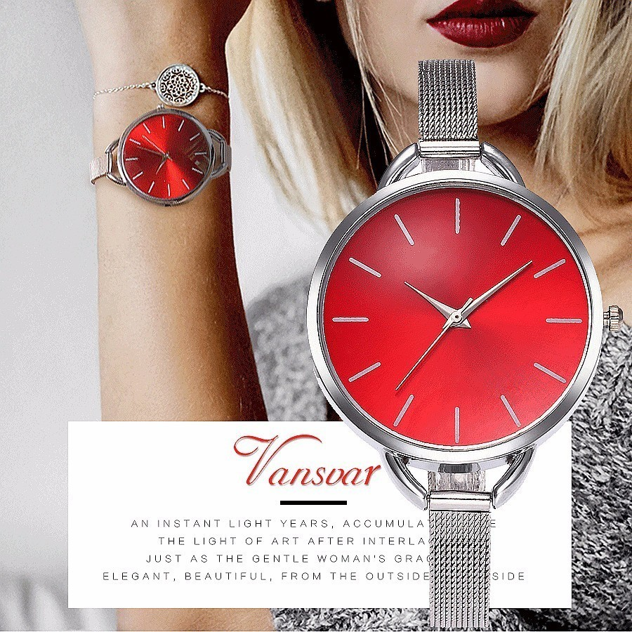 Vansvar Brand Fashion Colorful Dial Silver Mesh Stainless Steel Quartz Watch Women Wristwatches Reloj Mujer Relogio Feminino ysdx 398 fashion stainless steel self stirring mug black silver 2 x aaa