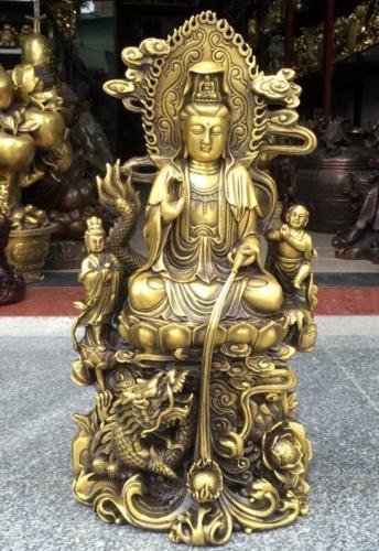 China Brass Boys Dragon lotus flower Kwan-Yin GuanYin Bodhisattva statueChina Brass Boys Dragon lotus flower Kwan-Yin GuanYin Bodhisattva statue