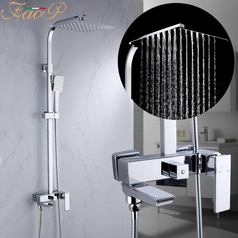 FAOP shower Faucet bathroom rainfall shower mixer tap wall mounted bath Faucets bathtub faucet tap mixer shower system цена