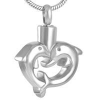 IJD8491 PVD Silver Gold Rose Gold Double Dolphin Heart Stainless Steel Cremation Necklace Pendant Ashes Holder