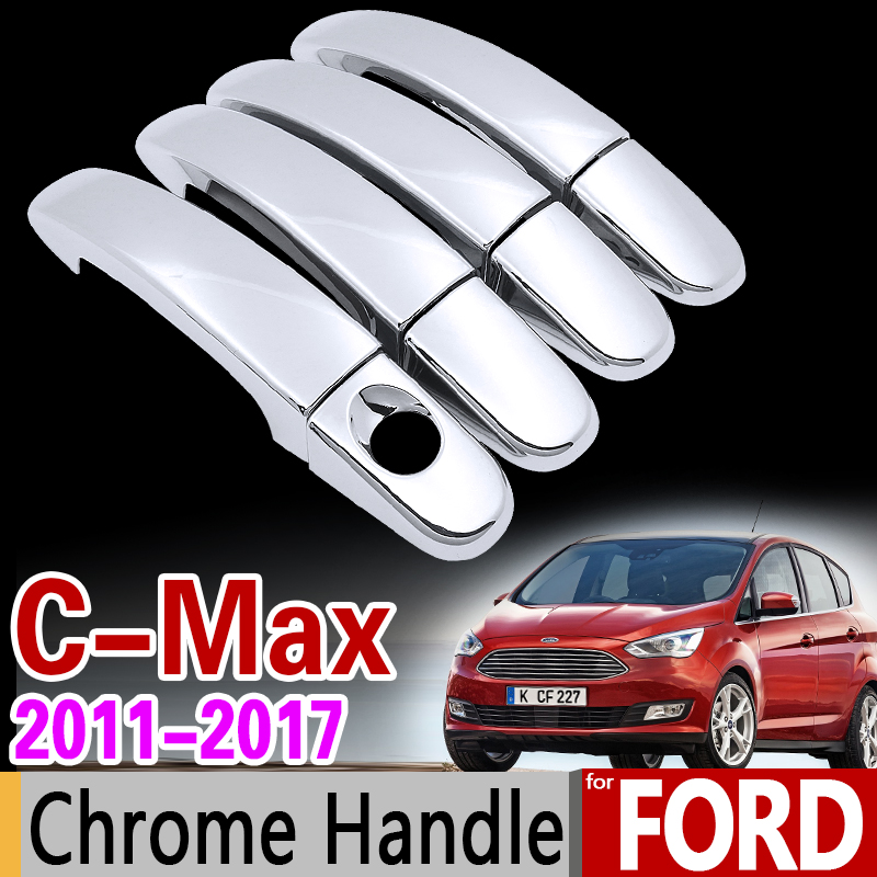 For Ford C-MAX 2011-2017 MK2 Chrome Handle Cover Trim Set for 4Dr C MAX Car Accessories Stickers Car Styling 2012 2013 2015 2016 for suzuki splash 2007 2014 chrome handle cover trim set of 4door 2008 2009 2010 2011 2012 2013 accessories sticker car styling