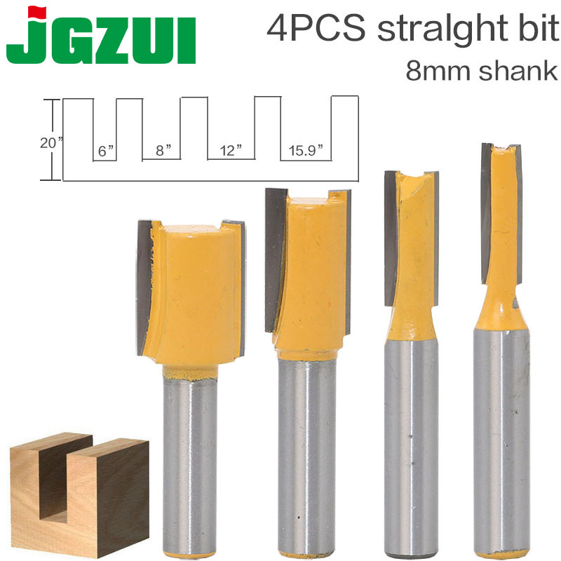 """1 Pc Straight/dado Router Bit - 3/8""""w X 1""""h - 8"""" Shank Woodworking Cutter Wood Cutting Tool"""