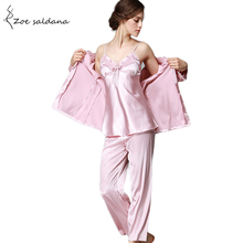 Zoe Saldana 2017 Silk Pyjamas Sleepwear 3 Pieces Pajama Sets Women's Sexy Lace Lingerie Wedding Robes(China)