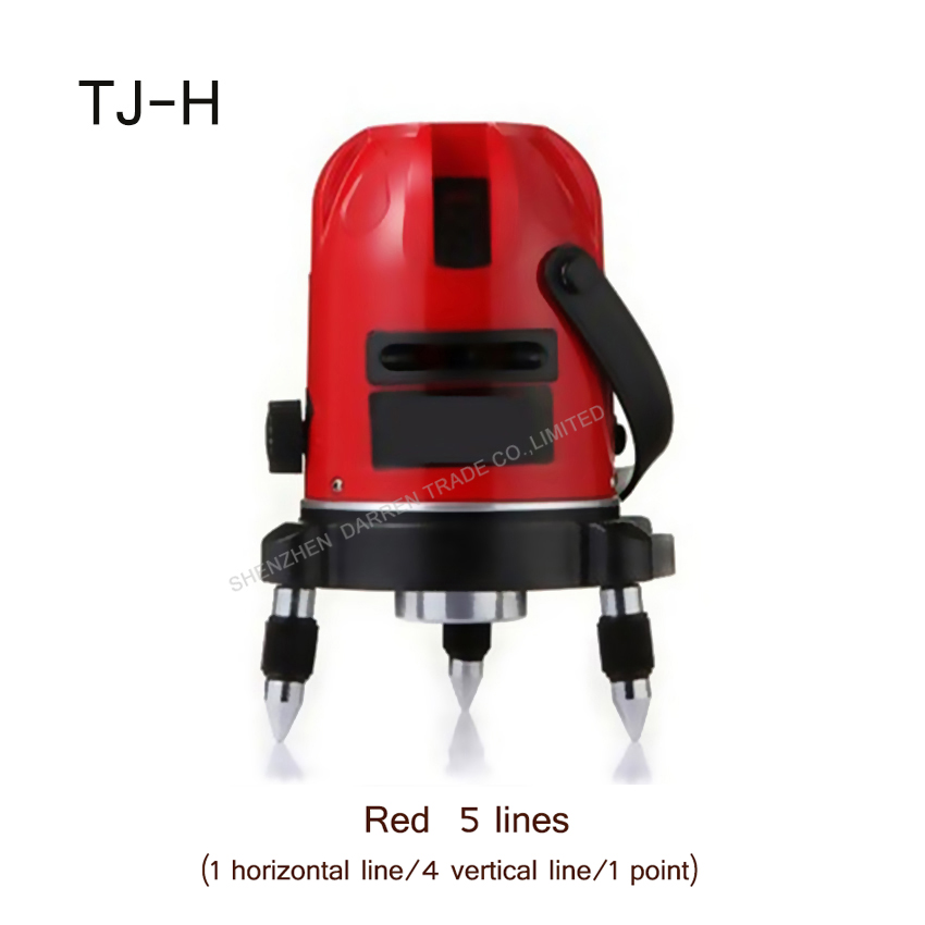 1PC Vertical Horizontal Line Cross Laser Level TJ-H Rotate 360degree self- leveling Red 5 lines 1 Point Laser level 1pc laser cast line machine multifunction laser line cross line laser rotary laser level 360 selfing leveling 5 line 4v1h3 point