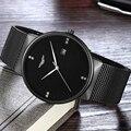 Guanqin nueva marca reloj de los hombres de malla de acero inoxidable calendario relojes de los hombres impermeables relojes del relogio masculino montre homme