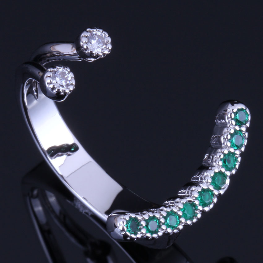 Cute Smile Green Cubic Zirconia White CZ 925 Sterling Silver Open Ring For Women V0665 in Rings from Jewelry Accessories