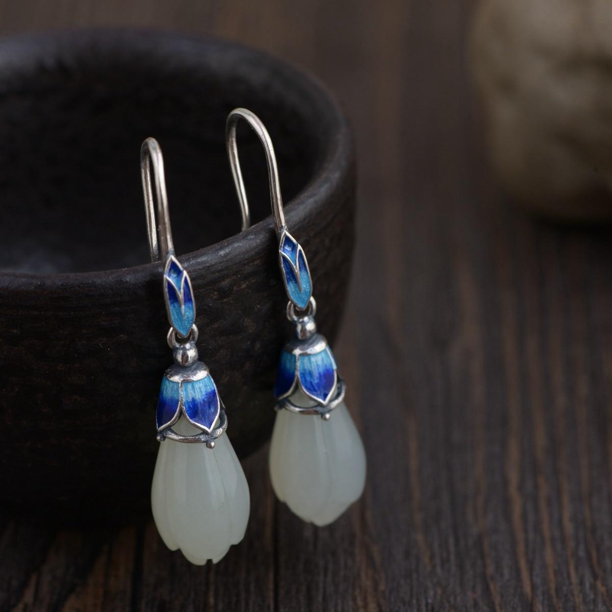 2018 Hot Sale jewelry line 925 silver wholesale Mana burn female fashion Thai silver inlay eardrop of hotan magnolia т в халилова государственная и муниципальная служба