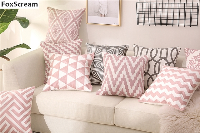 Pink Embroidery Decorative Pillow Cover