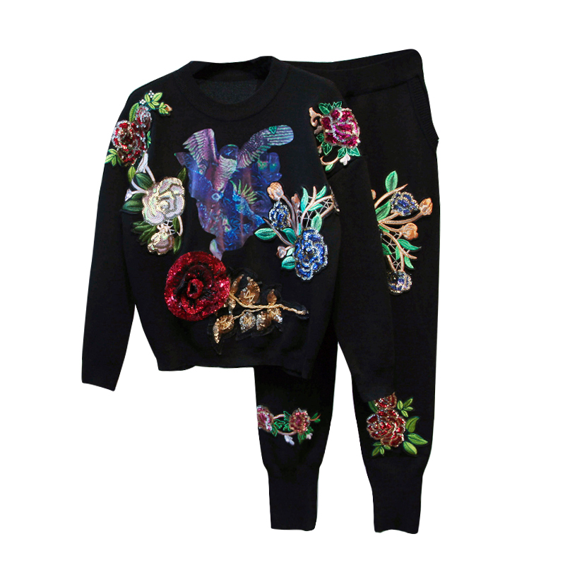 2 Piece Set Women Sportswear Tracksuits Long Sleeve Women Suit Knitted Embroidery Sweater Pullover Top and