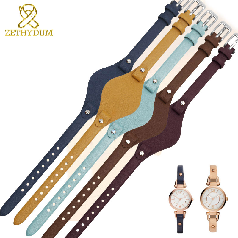 Genuine Leather Watch Strap Women Watchband Small Bracelet 8mm For Fossil ES4176 ES4119 4026 3262 3077 4340 Watch Band With Mat