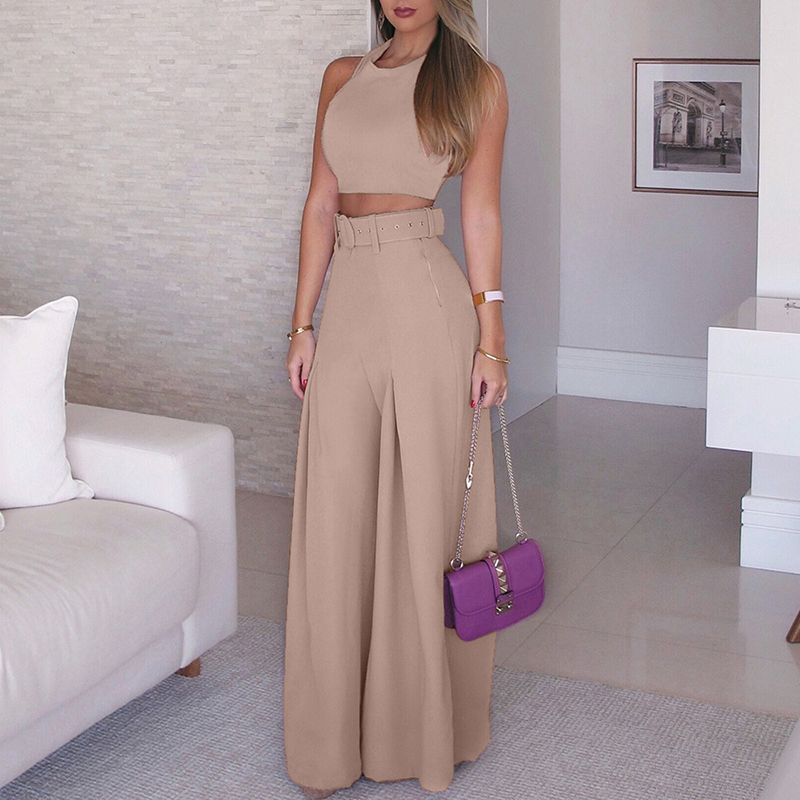 Women 2019 Fashion Elegant Formal Office Sleeveless Casual Suit Sets Ladies Solid Crop Top & Self belt Wide Leg Pant Sets