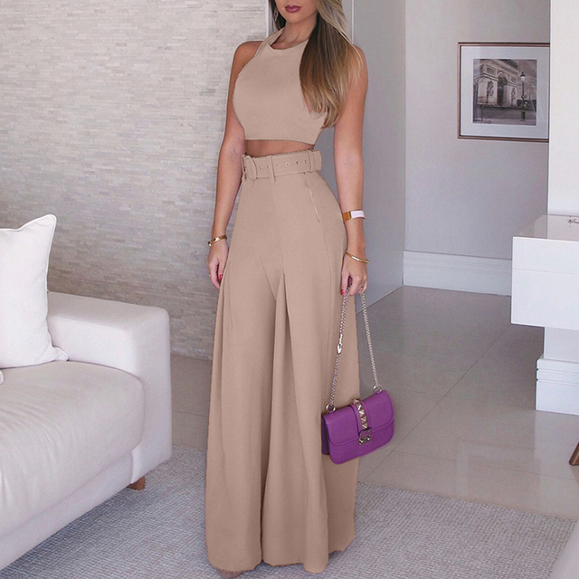Women 2018 Fashion Elegant Formal Office Sleeveless Casual Suit Sets Ladies Solid  Crop Top & Self-belt Wide Leg Pant Sets