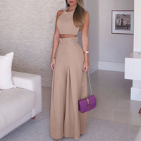 Women 2018 Fashion Elegant Formal Office Sleeveless Casual Suit Sets Ladies Solid Crop Top & Self belt Wide Leg Pant Sets