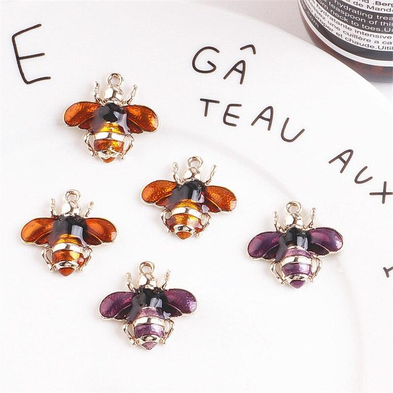 Мини-заказ 10 шт. 25*24 мм Эмаль животных пчелы кулон Талисманы золото Цвет покрытием ка ...
