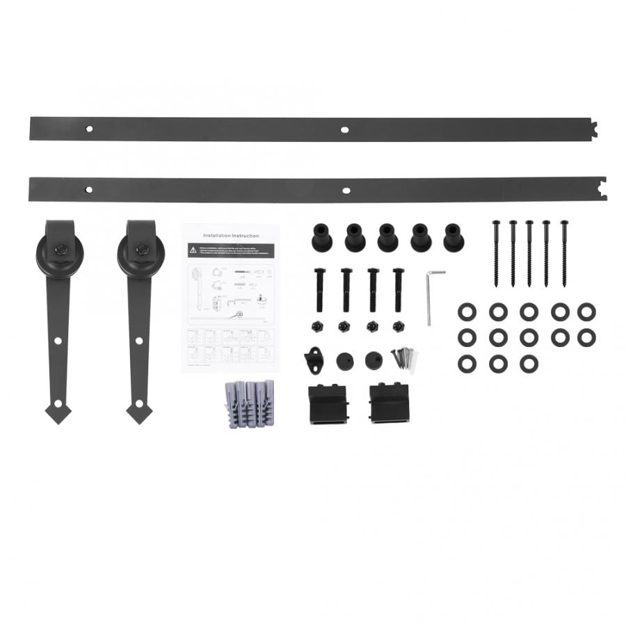 6FT Sliding Barn Door Hardware Roller Track Rail Kit Set for Closet Cabinet Carbon steel POM